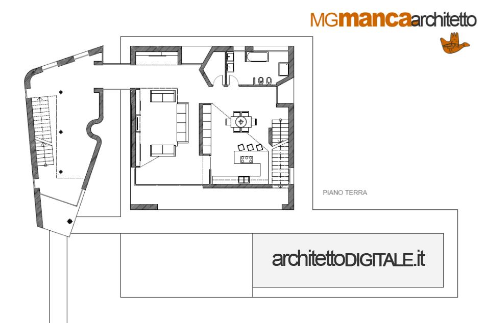 Progetto villa un piano planimetria casa in legno mq with for Come progettare una pianta del piano interrato