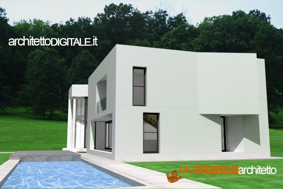 Perfect vista d render del progetto di una villa in for Ville in campagna progetti
