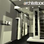 RENDER 3D FOTOREALISTICO DELLA PRIMA PROPOSTA DI PROGETTO DI INTERNI DI UN UFFICIO IMMOBILIARE