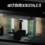SPACCATO 3D DEL PROGETTO DI INTERNI DI UN UFFICIO IMMOBILIARE