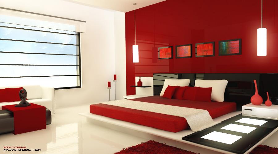 Pareti Camera Da Letto Rossa : Home interno camera da letto rosso brillante arredamento