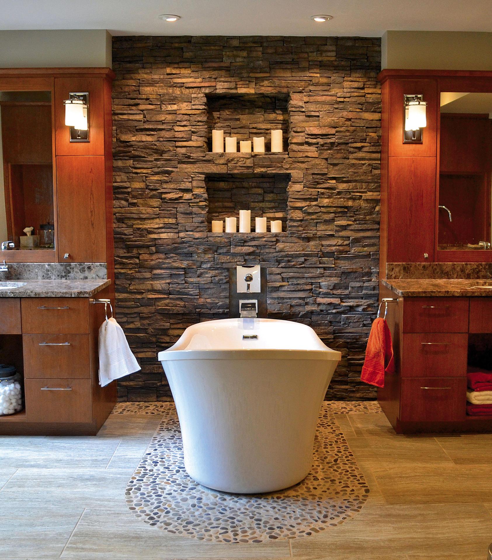 Rivestimento in pietra delle pareti architetto digitale - Rivestimento pareti bagno camper ...
