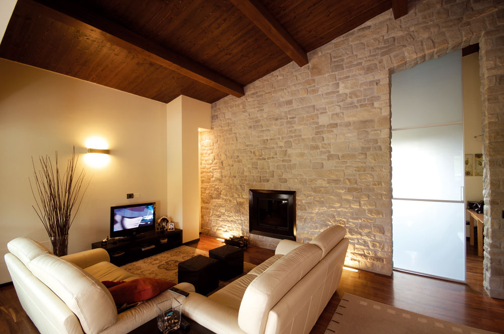 Rivestimento in pietra delle pareti architetto digitale - Rivestimento finta pietra interno ...