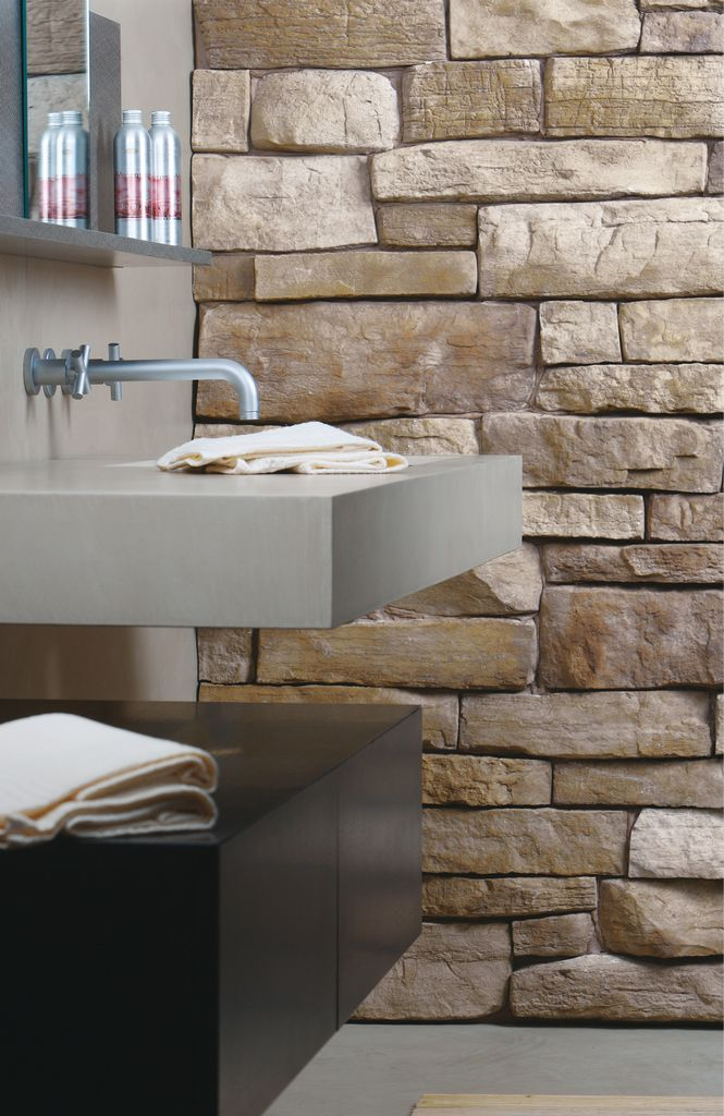 Rivestimento in pietra delle pareti architetto digitale - Bagno rivestimento pietra ...