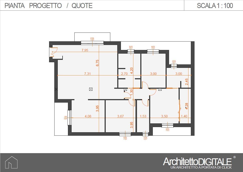 Planimetria Casa Con Misure progetto di una casa con corridoio | architetto digitale