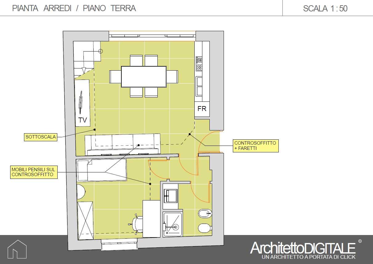 Progetto Appartamento 50 Mq progetto di una casa con soppalco | architetto digitale