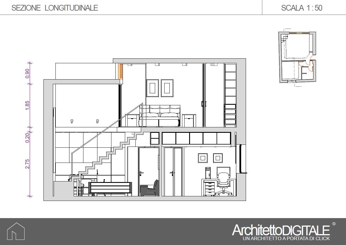 Progetto Appartamento 85 Mq progetto di una casa con soppalco | architetto digitale