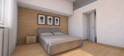 render 3d camera letto