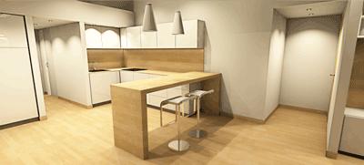 render 3d cucina con piano snack