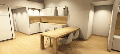 render 3d cucina con tavolo